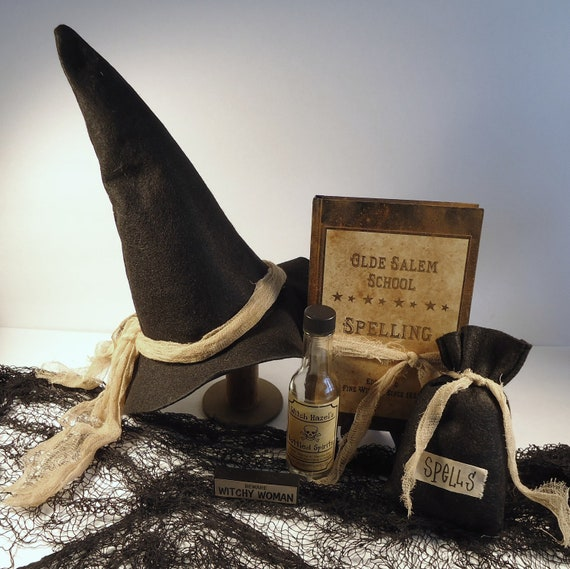 Halloween Decor Witch hat spell bag spell book spell bottle witchy woman sign - RaggedyRee