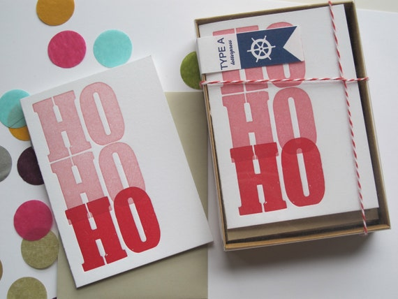 Letterpress Holiday Card Box Set - Ho Ho Ho