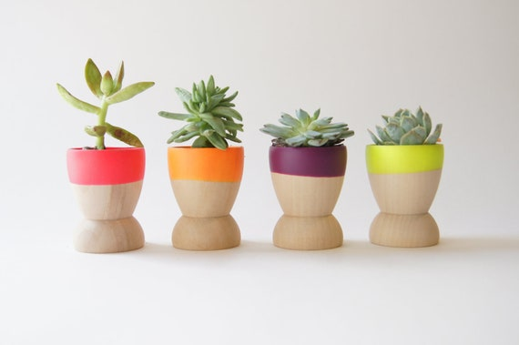 Mini Planters set of 4, Neon Pink, Orange, Purple and Yellow, wedding favors, Spring Decor