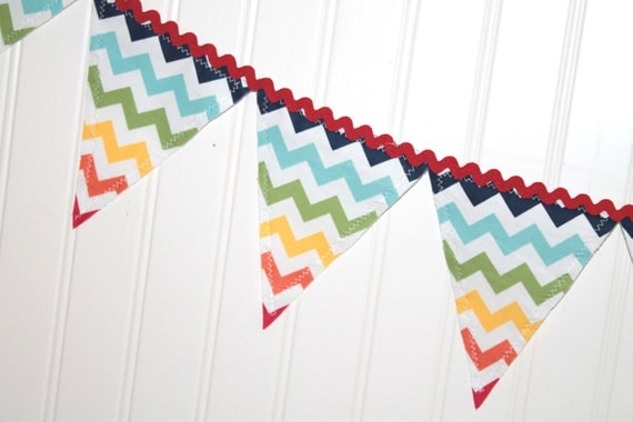 Primary Rainbow Chevron Fabric Pennant Banner