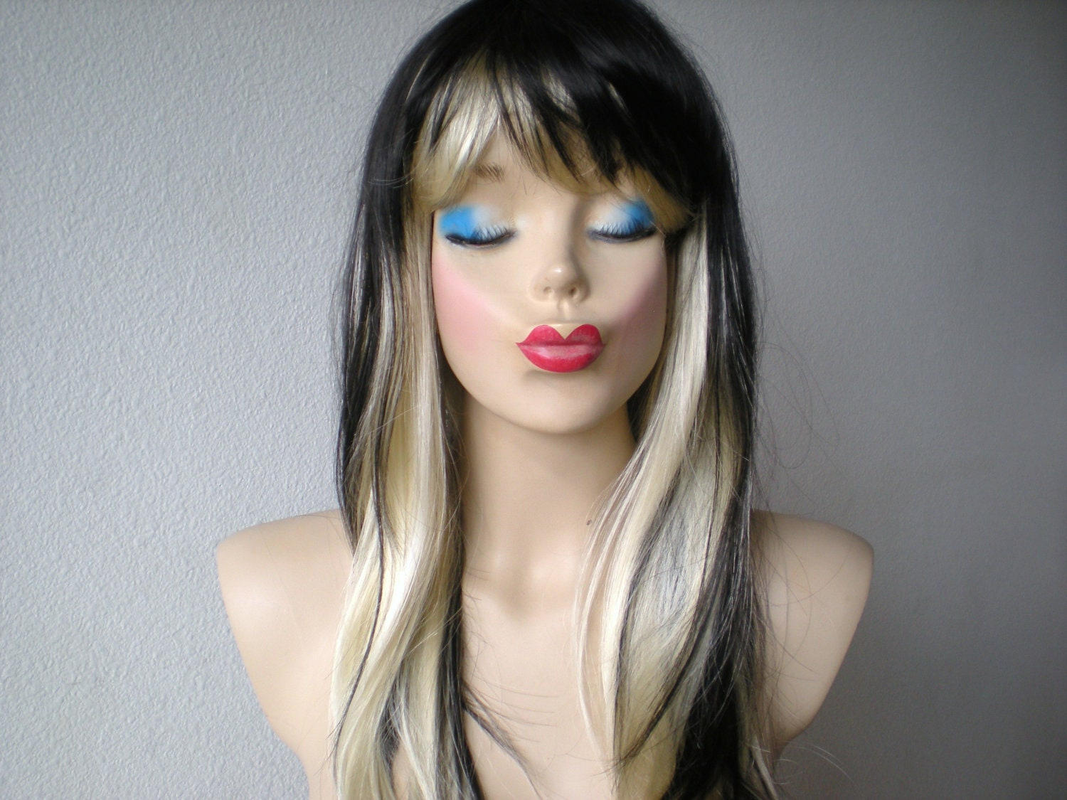 Black Blonde Ombre Wig Black Blonde Color Long By