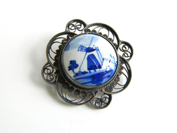 Vintage handcrafted silver filigree brooch with delft cabochon, blue and white windmill, c 1950's