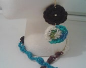 Crochet Bobble Necklace and Earrings Set