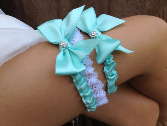Tiffany Blue Wedding Bridal Garter Set ... with Rhinestone details...