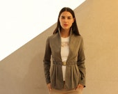 Brown Women Jacket, Olive Green Women Blazer, Brown Cardigan - ASSAFPELLEG