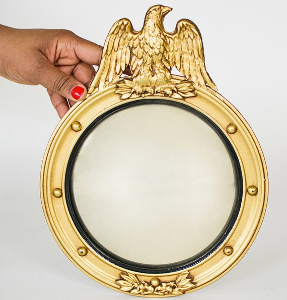 A Pair of Round Gold Anique American Eagle Federal Style Convex Mirror
