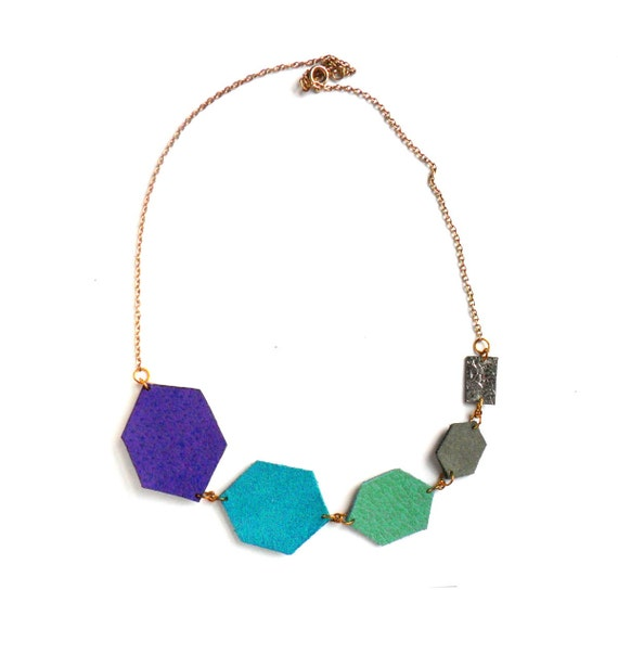 Geometric leather necklace in blue, grey, mint and purple diamond shapes