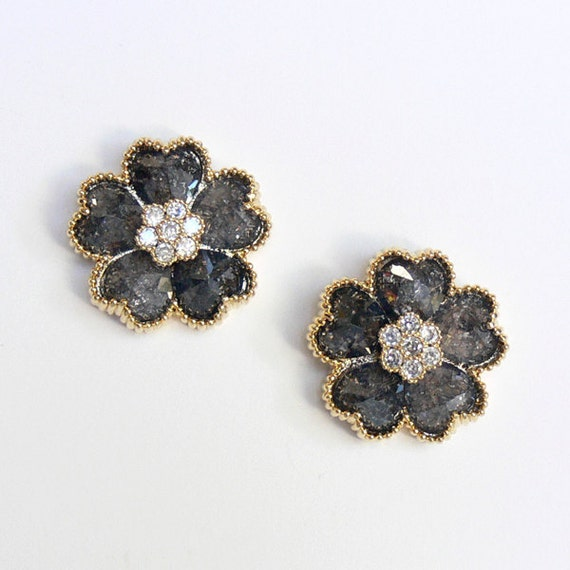 Sparkling Shimmering Dark Gray Golden Flower Accented with Crystal Stud Earrings