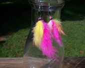 Boho Neon Feather Earrings