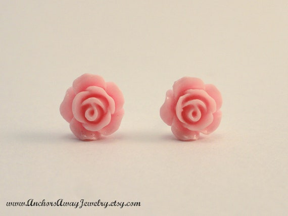 Light Pink Rose Stud Earrings - Flower Stud Earrings