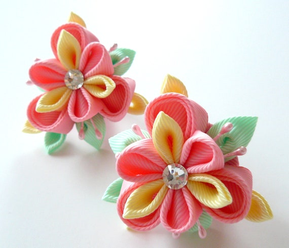 Kanzashi Fabric Flowers  Set Of 2 Ponytails   Pink  Lt Yellow And Mint