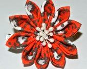Orange, white and brown kanzashi flower hair clip with floral spray center