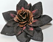 Black and red double layered kimono fabric kanzashi hair flower clip with metal rose center