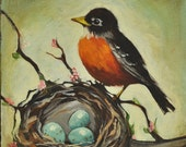 Personalized Gift - Custom Original Bird Painting on Canvas - 10 x 10 Inches - Robins Egg Blue Nest - Gift Wrapped - NancyJeanHome