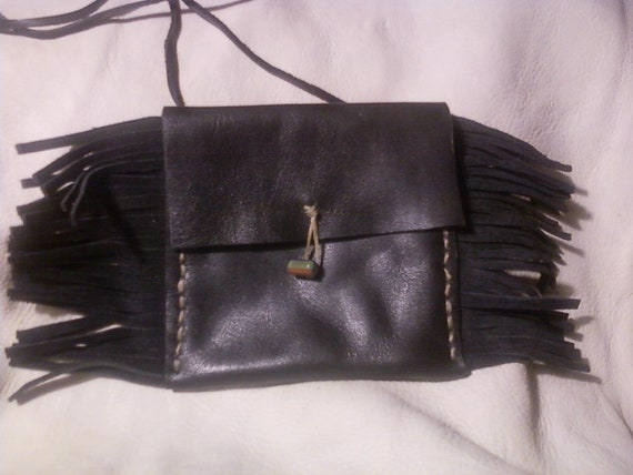 Handmade Black Leather Medicine Bag with Fringes and Neck Lace by Heidi Clauson