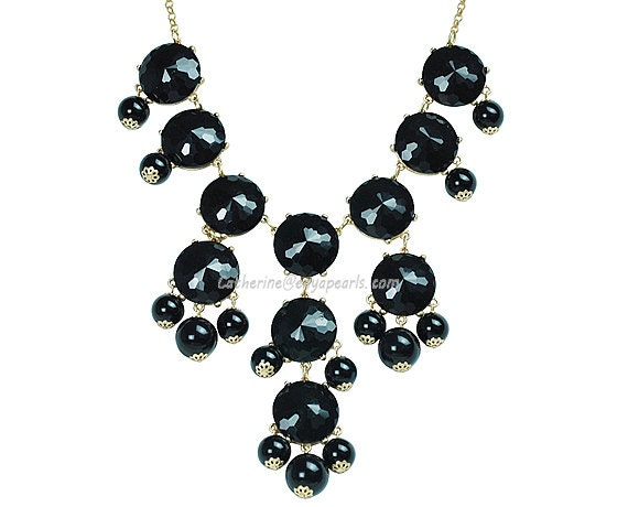 Bubble Bib Necklace, Bubble Necklace, Bubble Jewelry, Black Necklace, Black facet (Fn0508-F-Black)