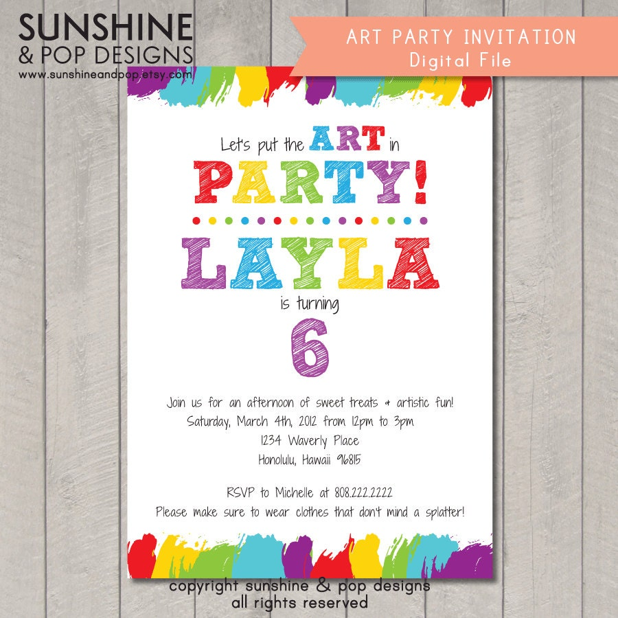It is an image of Gorgeous Free Printable Paint Party Invitations