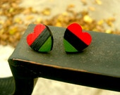 African-American Flag colored wooden heart shaped post earrings