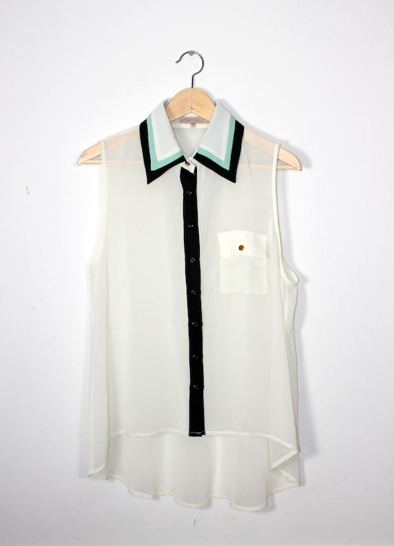 White Shirt With Mint and Black Collar / L