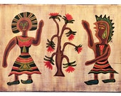 Tree, man and woman, couple, folk, primitive, naive, painting on wood, wall decor, room decor, wall hanging, original painting, art, wood