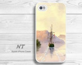 iPhone 4/ 4s 5 Case - Cell Phone Cover - iPhone Hard Case - Sailboat Oil Painting Print  - Natalia Turea Art - Mysoulfly