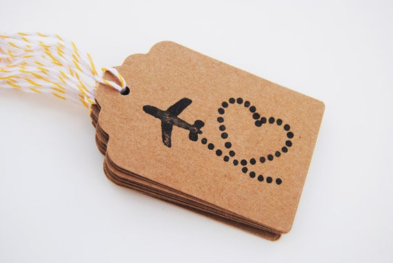 10 hand stamped Plane Tags -  Wedding Favor Tags, Valentine's Day