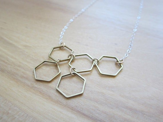 Honeycomb Necklace, Geometric hexagon jewelry