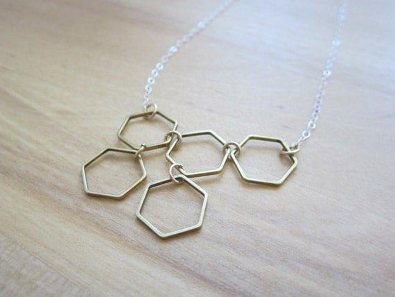 Honeycomb Necklace, Geometric hexagon jewelry