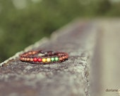 Reggae Vibes Wrap Bracelet - Reggae colors beads (red gold green), wooden beads, coconut clasp