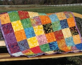 Ready to Ship     Modern Baby Quilt, Colorful Batik - TriangleQuilting