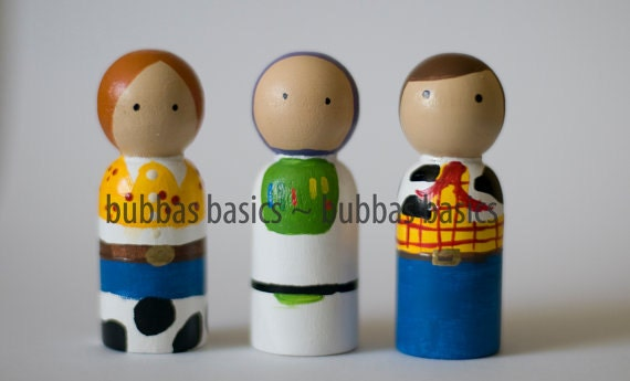 Toy Story Inspired Peg doll 3pc SET