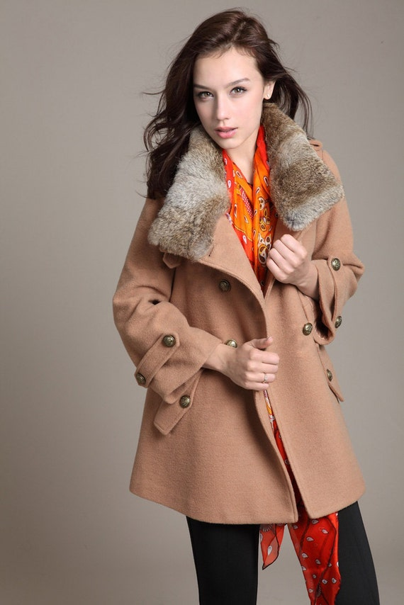 Warm Coat Loose  winter  caroset  Coat  double-breasted coat  ---Camel