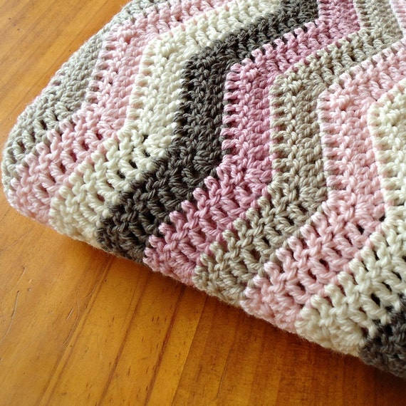 "ON SALE - Hand Crocheted Baby Blanket Pure Australian Wool ""Rocky Road"" Ripple Afghan - Size Grande"