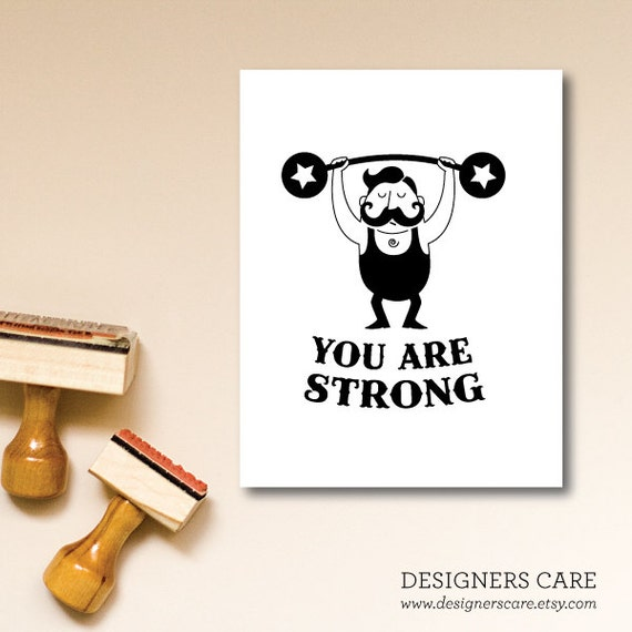 "One Inspirational Note Card - ""STRONG"""