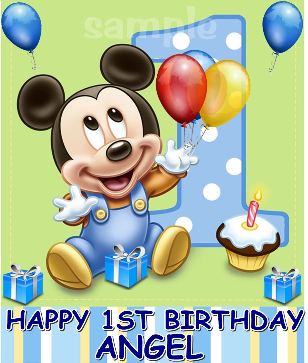 Baby mickey mouse edible cake topper decoration