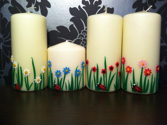Ivory Pillar Candle: Cute Flower Garden. Poppy, Daisy, Sunflower, Blossom. Ideal, Unique Christmas Gift