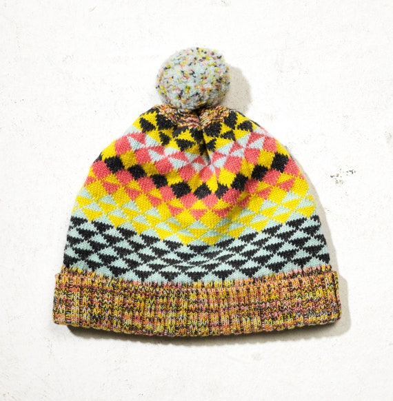 Unisex geometric hand knit bobble hat colourway 2