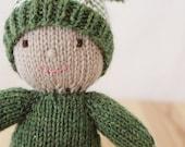 Custom knitted baby elf doll, stuffed waldorf style wool softie - Yarnigans