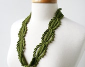 Fiber Art Jewelry - Silk Crochet Lace Necklace - Olive Green - ElenaRosenberg