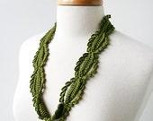 Fiber Art Jewelry - Silk Crochet Lace Necklace - Olive Green - ElenaRosenberg