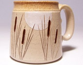 Cattails and Moon Pottery Coffee Mug Limited Series 39 (microwave safe) 12oz - JimAndGina