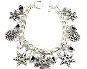 Silver Plated Snowflake Charm Bracelet with Comet Swarovski Crystals - anjalicreations