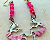 Kokopelli Charm Earrings Direct Checkout Beaded Woman Pink Black Friday Etsy - Lusmysticjewels