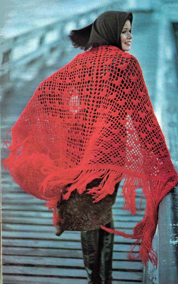 Fiesta Red Cockleshell Crochet Shawl PDF 268 Vintage Pattern
