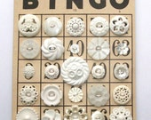 Vintage White BINGO Button Lot - White Flower Buttons, Flowers, Rhinestone, Carved MOP, Plastic -- 1119 - HeirloomAngel