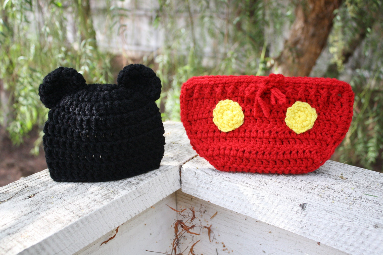 The Crochet Mickey Mouse Beanie and Diaper Cover Set