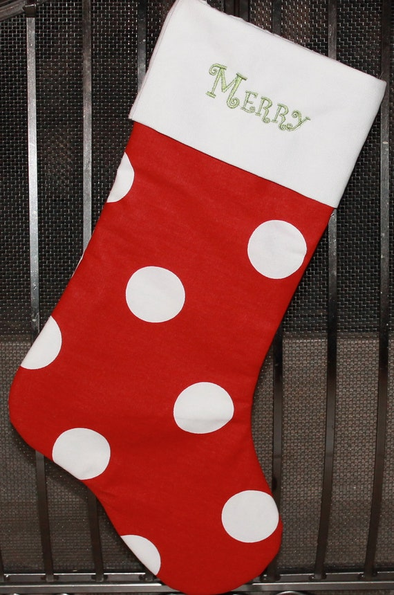 Personalized Red and white polka dot print Christmas Stocking- Monogrammed FREE