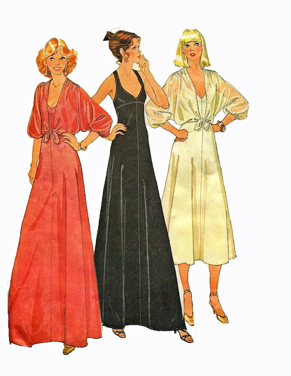 Vintage 1970s Sewing Pattern Evening Disco Dress Sewing Pattern Deep V Neck Cover Up 34 Bust McCalls 6396