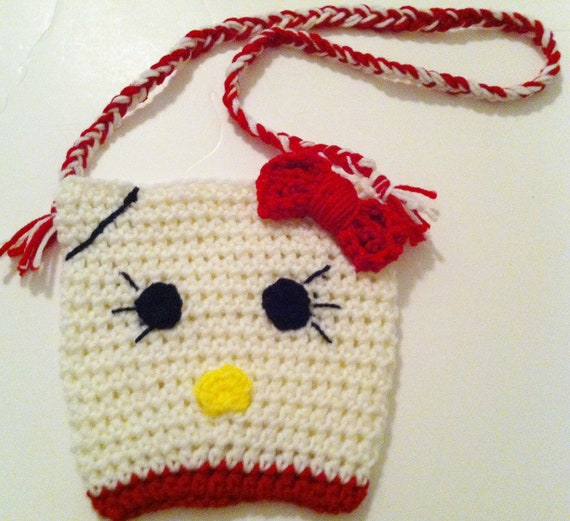 Kitty Purse, Crochet Girls Pouch, Cat Bag, Ready to Ship