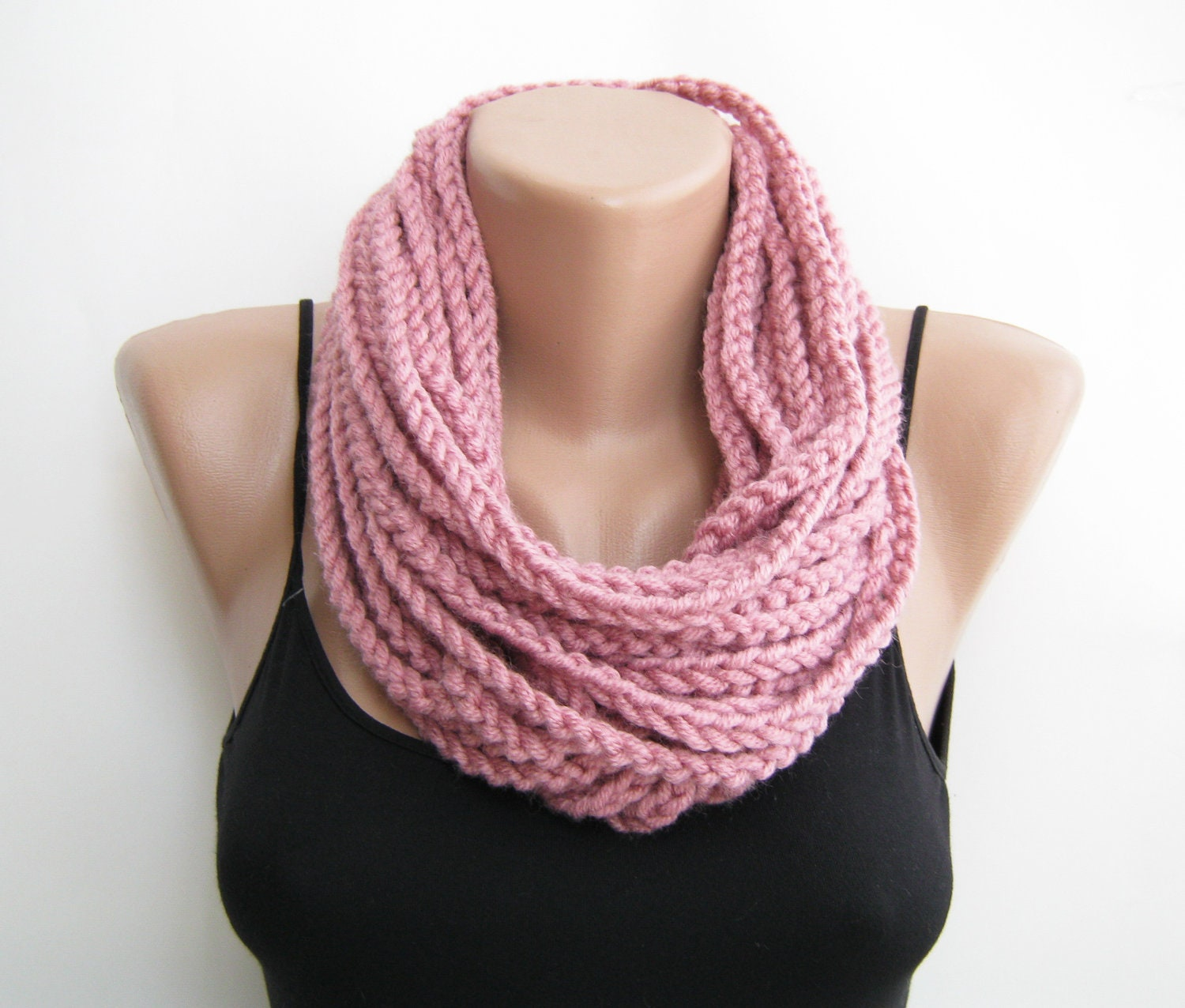 Pink crochet chain scarfcowlneck warmer infinity scarf Cowl Neck Scarves Crochet